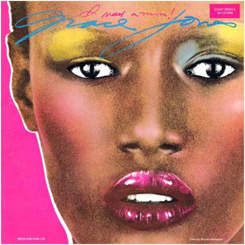 superseventies:  Grace Jones, 'I Need a Man', 1977 cover art.