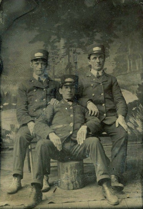 ca. 1870-1900's, [tintype portrait of three uniformed men, one most  exaggeratedly posed] via Ebay