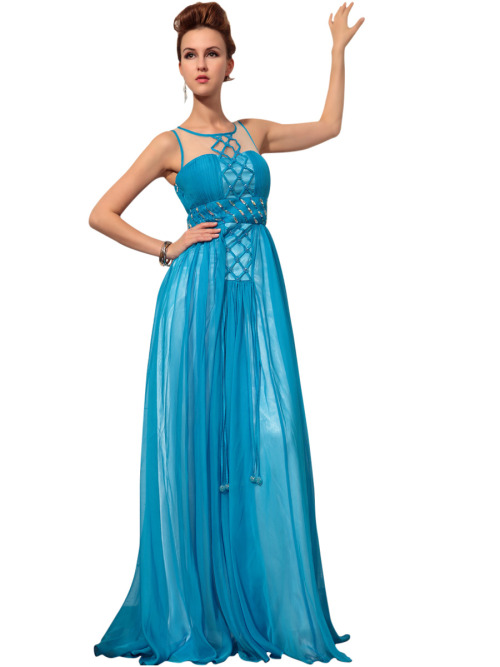 ELORY IN BLUE EVENING DRESS WITH EMBELLISHMENTS  £200.00 Gracious light blue evening dress featuring sleeveless A Line silhouette, chiffon overlay, floor length, lace neckline, fully embellished bodice in beads, cross stitched, jewels. Please send us a message to inquire about plus sizes and other color options.