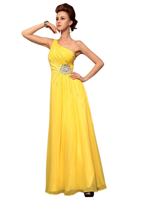 SANSA IN ASYMMETRIC YELLOW JEWELLED EVENING DRESS   £165.00 Bright and young evening dress in yellow color featuring one shoulder asymmetric A Line silhouette, chiffon overlay, floor length, fully embellished bodice with large jewel on high waistline. Please send us a message to inquire about plus sizes or other color options.