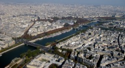 Paris, the River Siene, and The Grand Palais des Champs-Elysées as viewed from Le Tour Eiffel. Paris, France. Photo by Amber Maitrejean
