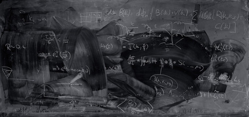 fastcodesign:  The ghosts of theorems past: Photographer Alejandro Guijarro's series, Momentum, is a collection of images that show the post-lecture blackboards at leading quantum mechanics research institutions.