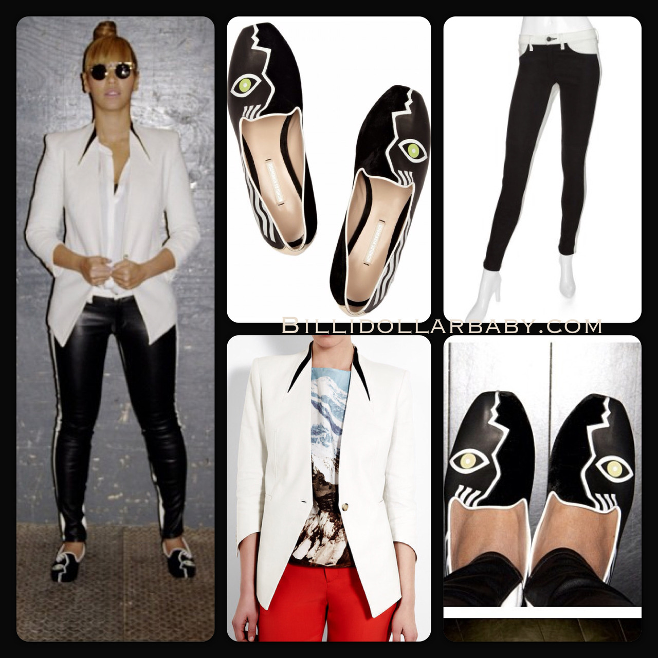 billidollarbaby:  GET THE LOOK: Beyonce has officially joined Instagram.  She posted a picture of her wearing: Nicholas Kirkwood Face-print leather and velvet loafers ($925) Helmut Lang Pointed Cuff Blazer ($645) Rag & Bone Black & White Leather Panel Skinny Jeans ($505)