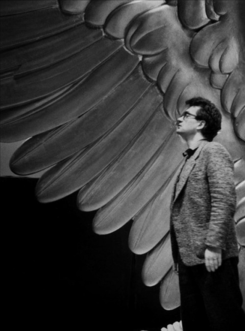 pickledelephant:  Wim Wenders on the set of Wings of Desire (1987)