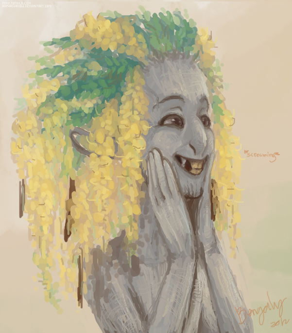 bengaly:  ok ok i drew that cássia-imperial guy as one of dimespin's dryads i hope no one is surprisedalso dude stop smiling because i am sure you are ugly even for dryad standardsi am happi thoyou should go see dimespin's stuff if you have not saw it yet  Aww, what a cutie!