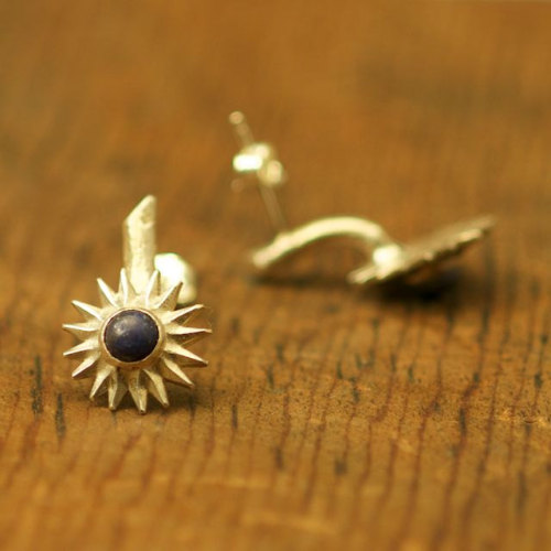 thistle earrings… sterling silver and lapis lazuli by markaplan