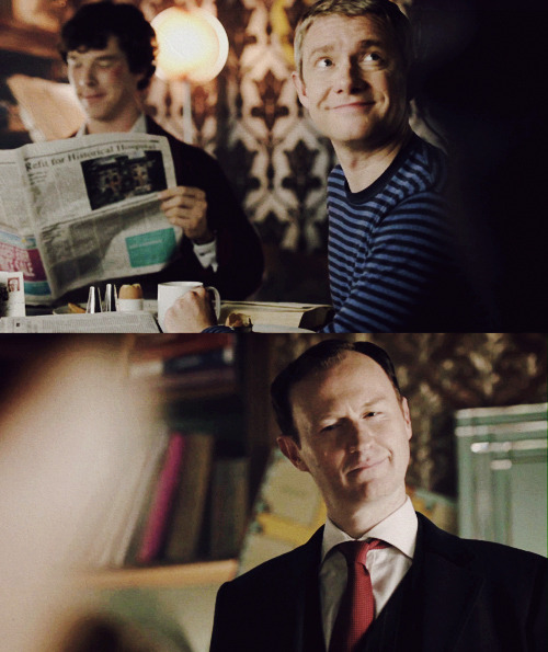 Mycroft is not amused by Sherlock's sassy boyfriend.