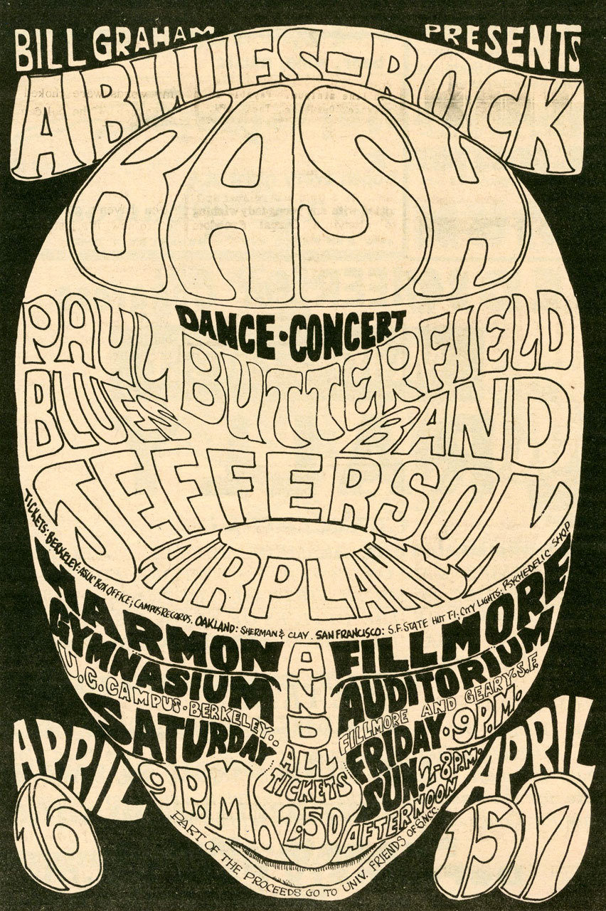 Jefferson Airplane & Paul Butterfield Blues Band at The Fillmore in 1966 Artwork by Wes Wilson