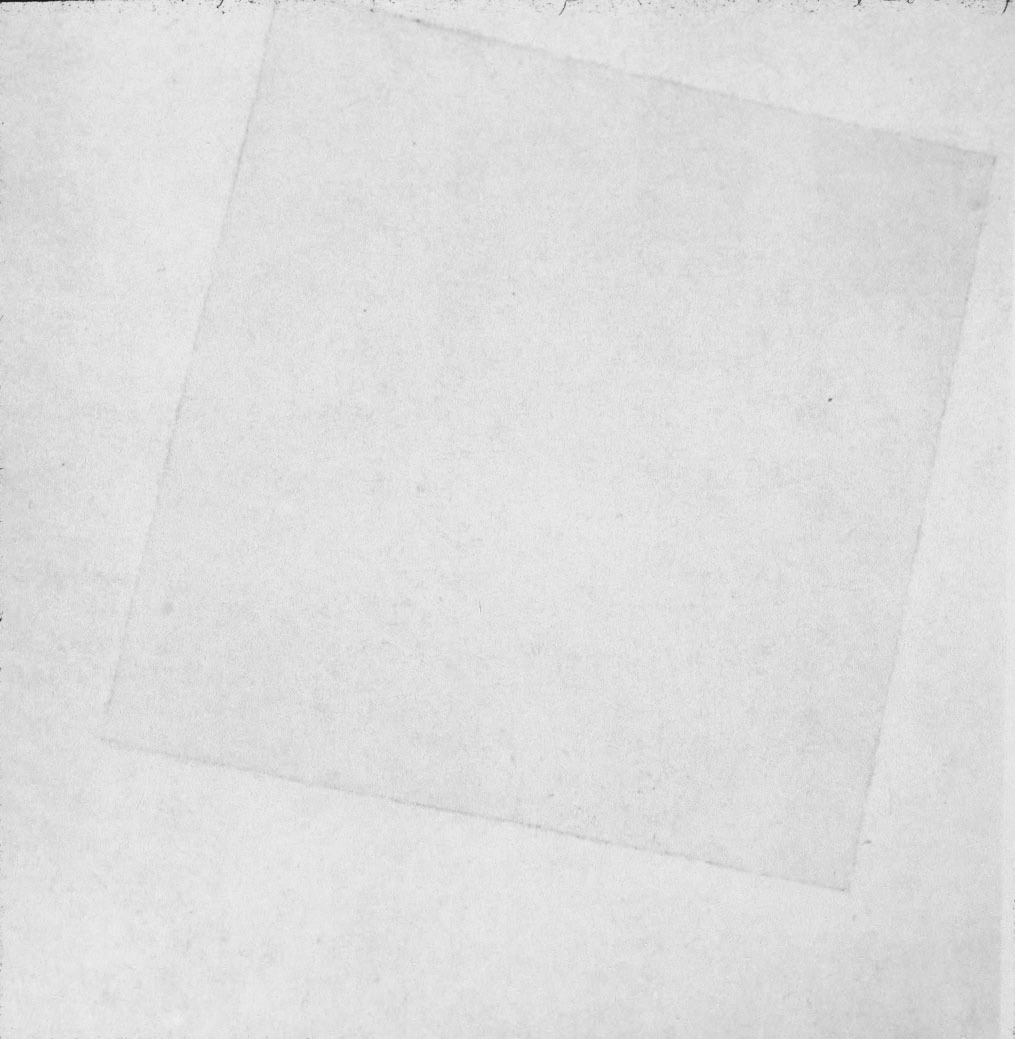 "thefilearts:  Top: Kasimir Malevich, Suprematist Composition: White on White, 1918 Bottom: Daniel Silvo, SQUARE, 2012 from the MOMA website  on White on White:  A white square floating weightlessly in a white field, Suprematist Composition: White on White was one of the most radical paintings of its day: a geometric abstraction without reference to external reality. Yet the picture is not impersonal: we see the artist's hand in the texture of the paint, and in the subtle variations of the whites. The square is not exactly symmetrical, and its lines, imprecisely ruled, have a breathing quality, generating a feeling not of borders defining a shape but of a space without limits. After the Revolution, Russian intellectuals hoped that human reason and modern technology would engineer a perfect society. Malevich was fascinated with technology, and particularly with the airplane, instrument of the human yearning to break the bounds of earth. He studied aerial photography, and wanted White on White to create a sense of floating and transcendence. White was for Malevich the color of infinity, and signified a realm of higher feeling. For Malevich, that realm, a utopian world of pure form, was attainable only through nonobjective art. Indeed, he named his theory of art Suprematism to signify ""the supremacy of pure feeling or perception in the pictorial arts""; and pure perception demanded that a picture's forms ""have nothing in common with nature."" Malevich imagined Suprematism as a universal language that would free viewers from the material world.   Daniel Silvo took this painting by Malevich as inspiration for his digital work SQUARE: here the piece is taken to its ultimate digital conclusion; the white on white is not visible. It has become pure language,  completely separated from the material world, from any sort of representation. That is until the viewer takes an action, in this case selects the text, and makes, for that brief moment of interaction, visible the white square from the white background, reintroducing the human scale into the work.  Download Square by Daniel Silvo on The File Arts"