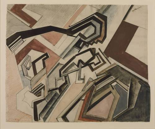 Wyndham Lewis, 1912-13, Planners: Happy Day From the Tate:  Between 1911 and 1913 Lewis experimented with Cubism. However, when he later recalled the process by which he made this work, he used language similar to that used by the artist Wassily Kandinsky. He wrote 'The way those things were done…is that a mental-emotive impulse is let loose upon a lot of blocks and lines of various dimensions, and encouraged to push them around and to arrange them as it will.' Kandinsky exhibited in London during the years 1909-13. His abstract style must have appealed to avant-garde artists such as Lewis.