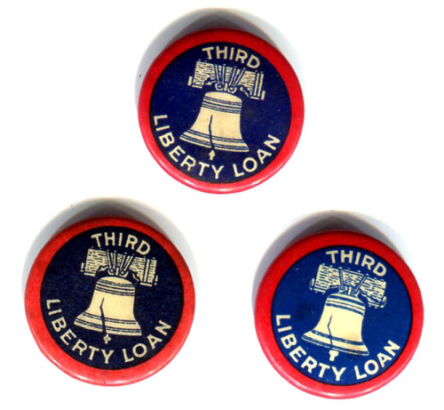 In honor of Veterans Day I'm posting three small pins from the Third Liberty Loan, which was a Government bond program to help pay for WWI. This third loan campaign of The Great War started in April of 1918, which makes dating these pins rather easy. I found various articles and speeches given for this loan drive including an article from the Harvard Crimson and a speech given by President Wilson. If you're a history nerd (and I'm going to assume you are if you've gone this far) you might be familiar with the photos of Charlie Chaplin and Douglas Fairbanks Jr. revving up the crowd to buy bonds on Wall Street, or the famous poster of the Boy Scout handing a sword to Liberty to fight for freedom, that was from this drive. I know that one of my ancestors on my Mom's side worked at selling the bonds because I have this cool token that was handed out to them after the war. Sadly, I'm not exactly sure which one. While most in the U.S. don't know the origins of what we call Veteran's Day, other nations like England and France know quite well. Their Remembrance Day is also known as Armistice Day, which marks the end of WWI. England, for example, holds a moment of silence for 2 minutes at 11:00 a.m. (very striking images here) which was the time when the hostilities ended. It's rather easy to remember when the guns fell silent: The 11th hour, of the 11th day, of the 11th month (or at least you hope it's easy if you have to take my test). They also wear a red poppy, which is a direct link to one of WWI's most famous of poems In Flanders Fields. It's also easy to see why other nations so honor this day. In England, for example, they lost more men during this war than WWII (almost 1 million - a fact that shocks most), and they didn't even loose as many as the roughly 1.6 million suffered by France. With that in mind you can see why they mark this day in a very somber way.