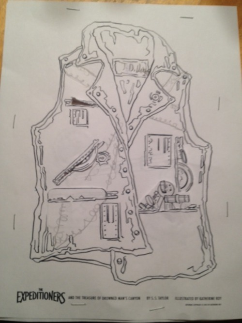 Look at these great Explorer's Vest worksheets, designed by Katherine Roy. I'll be debuting them at a kids' writing workshop I'm teaching tomorrow. This one was customized for adventure by a member of the Expeditioners' household! Come design your own Explorer's Vest (or newly discovered map of the world) at one of our signings.