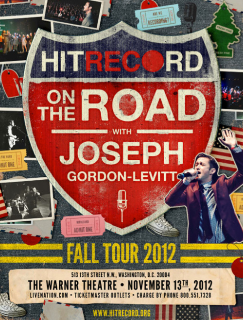 hitrecordjoe:  There are some tickets left for our hitRECord show in DC! Tickets from $9.50 - $29.50!  Super-excited for this! See ya on Tuesday! :O)