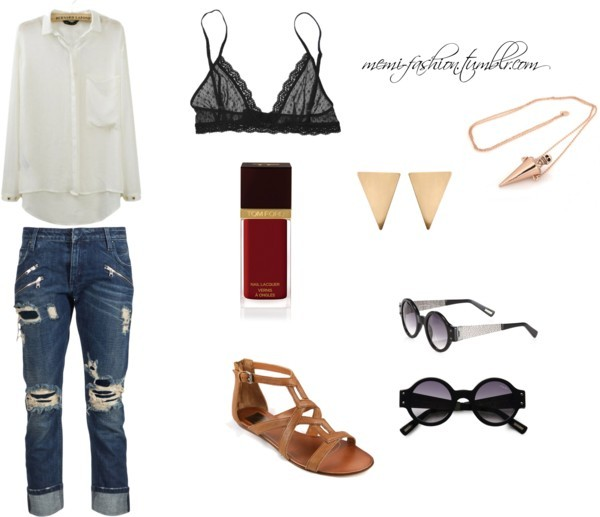 Random inspired outfit by joliej featuring a white long sleeve blouse White long sleeve blouse / Pierre Balmain destroyed jeans, $425 / Eberjey / Dolce Vita tan sandals / House of Harlow 1960 / Triangle stud earrings, $10 / Lanvin vintage retro sunglasses / Tom Ford  nail polish