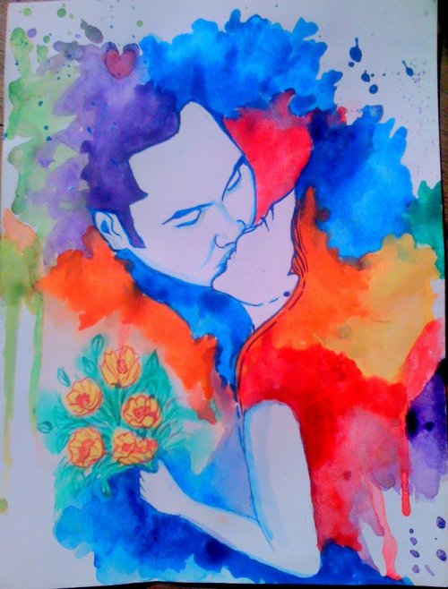 "watercolor painting for T.Mae & Kuya Dane's wedding anniversary. (this was based on their ""You may kiss the bride"" photo during their wedding. :) by Jhemar Sabido"