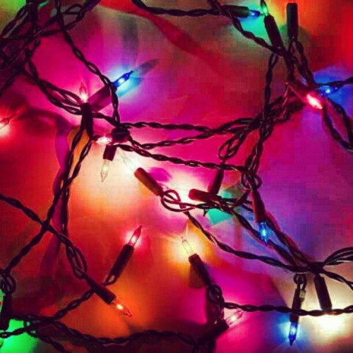 I want Christmas #christmas #lights #pretty #glitter #pink #green #purple #blue #yellow #holiday #sparkling #christmaslights #winter #instagood