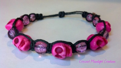 New item listed in my shop today! Pink Skull Hemp Bracelet.   www.crescentmoonlight.etsy.com