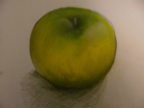 Drawing apples instead of eating them. Pencil and chalk pastel.
