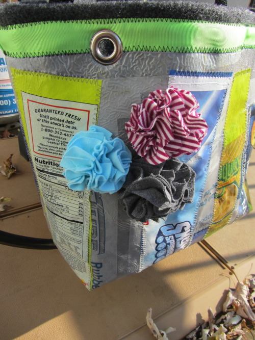 Repurposed Plast Tote with Upcycled T-shirt Flowers!
