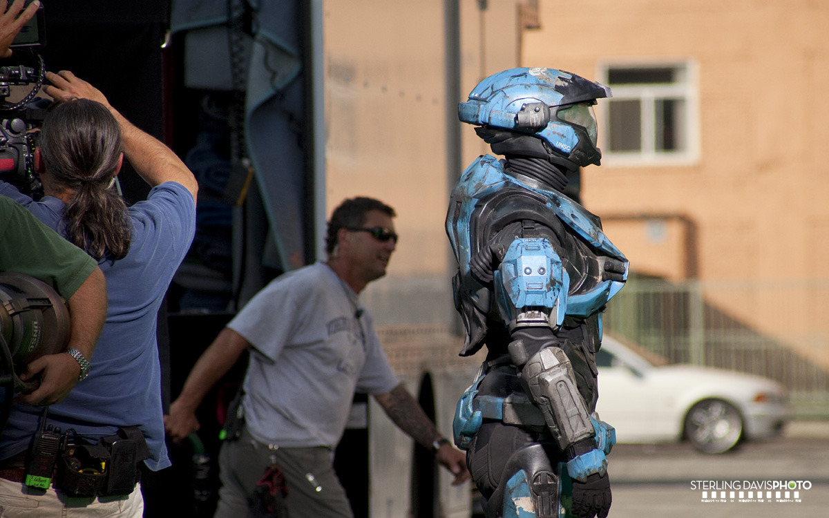 On the set of the Halo Reach commercial.