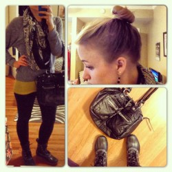 {What I Wore Today: Saturday, November 10, 2012} Worn to the library to pick up some movies, a grad school networking workshop, and then drove to the burbs to go to Red Lobster with my parents and to get my cat back :) Gray Top: American Apparel Yellow Tank: Target Leggings: Target (breaking my own rule about leggings as pants, but I double them up with running tights under so they aren't see through at all haha) Boots; LL Bean  Bag: Target Scarf: H&M (4 years old/no longer available) Attempted a top knot for the first time.