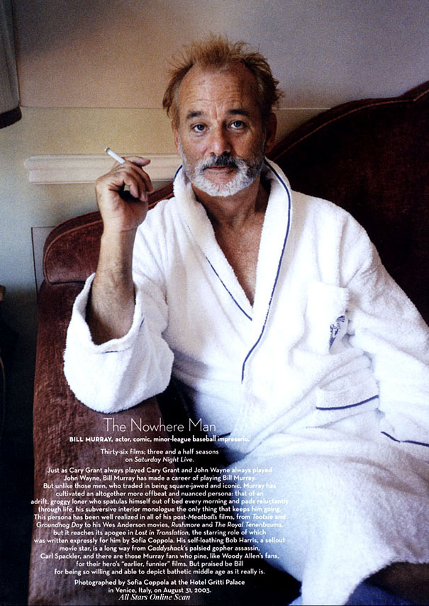 suicideblonde:  Bill Murray photographed by Sofia Coppola in 2004