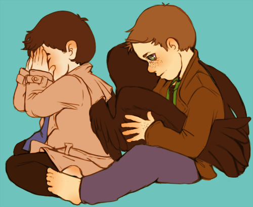 Haven't drawn babies in a while. So here's some baby!Destiel.
