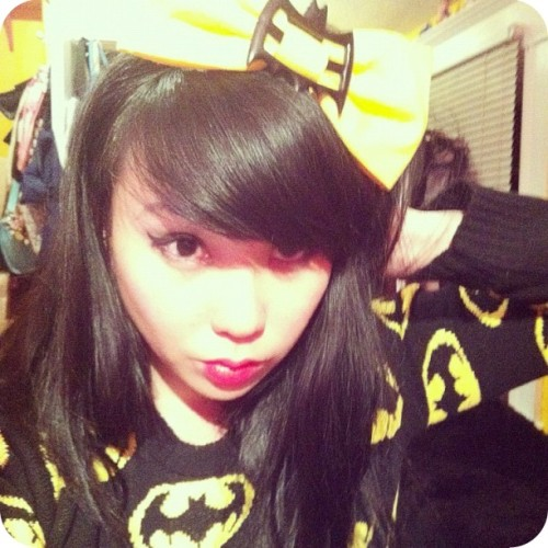 bettyfelon:  bat shit cray  A quick glimpse of my new Batman sweater that I got on eBay.