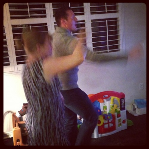 Haha! @jonallensays and Sarah dancing to #CaliforniaGirls on the #Wii. #classy #dinnerparty #friends #relax #fun #instagood #instamood