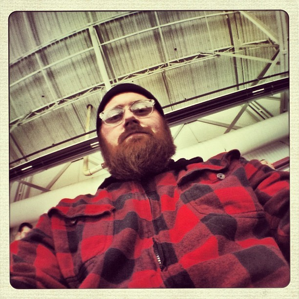 Looking like a lumberjack last night. #selfie #self #beard #bearded #beardgram #instabeard #flannel #glasses #beanie #lumberjack
