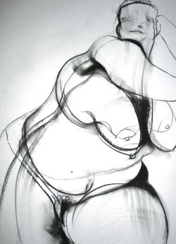 carmeljenkin-art:  Drawing by Carmel Jenkin Hedonist, charcoal on paper, 81cm x 57cm If hedonism is a devotion to pleasure then mine is to draw voluptuous visions of life. This piece will be available for purchase on Daily Painters November 11th.