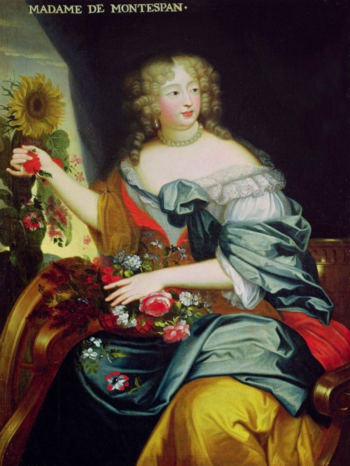"jaded-mandarin:  Madame de Montespan.  Born into one of the oldest noble families of France, the House of Rochechouart, Madame de Montespan was called by some the true Queen of France during her romantic relationship with Louis XIV due to the pervasiveness of her influence at court during that time. Her so-called ""reign"" lasted from around 1667, when she first danced with Louis XIV at a ball hosted by the king's younger brother, Philippe I, Duke of Orléans, at the Louvre Palace, until her alleged involvement in the notorious Affaire des Poisons in the late 1670s to 1680s. Her immediate contemporary was Barbara Villiers, mistress of King Charles II of England. She is an ancestress of several royal houses in Europe, including those of Spain, Italy, Bulgaria and Portugal."