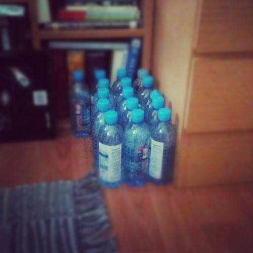 sister drinks a lot of water !