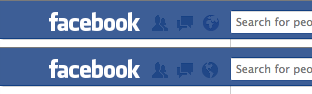 Facebook - The notifications icon shows a different side of the globe depending on your location. /via Thomas Park
