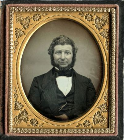 ca. 1850's, [daguerreotype portrait of a bearded gentleman with an uneasy grin] via Ebay