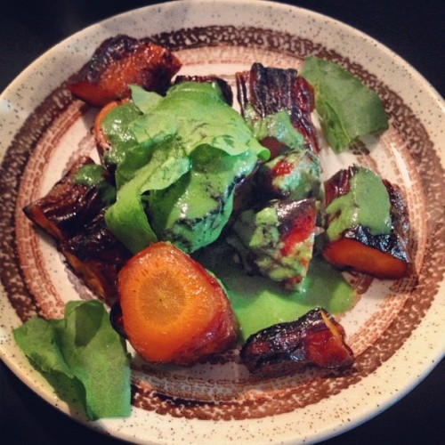 Burnt carrots in green sauce.  (at Manfreds & Vin)