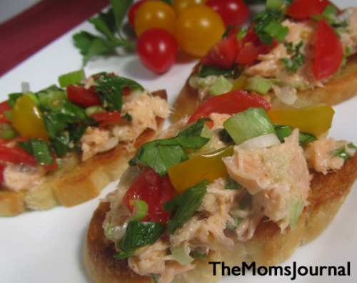 Smoked Salmon Crostini with Tomato Parsley Salsa