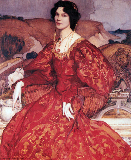 masterpiecedaily:  George Lambert Sybil Walker in Red and Gold Dress 1905