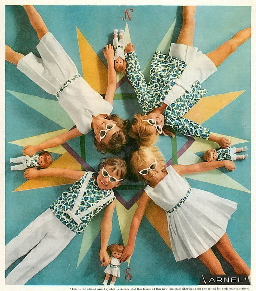 theniftyfifties:  1958 Arnel Celanese resort clothes for girls.