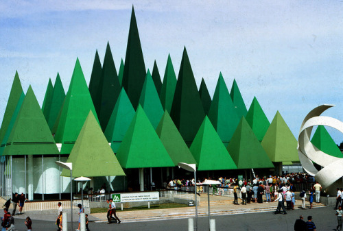 "oxane:  Canadian Pulp and Paper Pavilion at Expo '67 - Montreal, Quebec by The Pie Shops  A little info from the Expo '67 website here: expo67.ncf.ca/ Forests affect Man and his World profoundly. Paper, for which the forests produce raw material, is the principal tool Man uses to record his thoughts. This is the theme of the Canadian Pulp and Paper Pavilion on Ile Notre-Dame - in which the tallest trees are as high as an eight story building. The first four main exhibit areas shows forest legends of the world, combining sound effects and animation in a whimsical treatment. Next is a visit to one of the pavilions' two unusual theatres. Its walls suggest an unwinding roll of paper, and visitors watch a show on paper's history. The third area tells of the benefits Canadian pulp and paper bring to the Canadian economy and the world. Next a visit to Lab 67, a science whiz show presenting a lively demonstration relating to the chemical aspect of paper production and the unlimited future applications of paper products. Visitors on the plaza can watch a demonstration by French Canadian artisans of papermaking by hand. Historical Footnote: The music that visitors heard at the Pulp and Paper Pavilion was composed by Ben McPeek, the very same person who did the orchestral score for Bobby Gimby's hit song, ""CA-NA-DA"" by the Young Canada Singers."