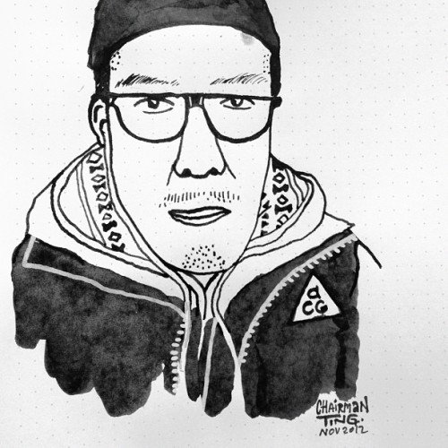 @jeffstaple #Portrait #ink #superindiaInk #chairmanting #illustration #dailydoodle #NikeACG #acg