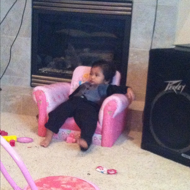 Rayden chillin on a pink chair……………. What the lol