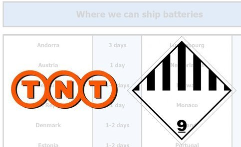 FAQ: Transport of batteries -  why  restrictions?  Transport of certain goods classified as Dangerous Goods (ADR) need to follow global transport limitations. Even though LiFePO4 batteries are extremely durable against abuse and cannot explode, the LiFePO4 technology is still listed as dangerous under category CLASS 9 (Miscellaneous). All classes of ADR are following regulation of transport presented by ICAO Technical Instructions, IATA Dangerous Goods Regulations and the IMO International Maritime Dangerous Goods Code. In partnership with TNT, we provide safe transport of batteries to many destinations in Europe. Check with us for the updated list of locations in Europe. For delivery to other locations, we recommend that you arrange your own courier or shipping agent to handle the shipment of the dangerous goods to your country.