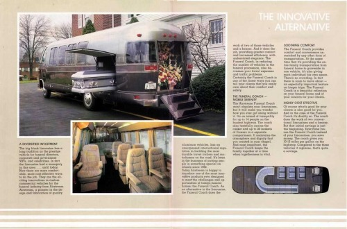 Airstream tried to get in on the funeral coach business in 1981 but it didn't catch on. National Academy Of Mortuary Science