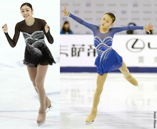 For her free skate dress at the 2012 Cup of China, Ying Zhang clearly took inspiration from Yuna Kim's Homage to Korea dress from 2011. Both dresses are beautiful. Sources: www.flickr.com/photos/queenyuna/5672479939/in/set-72157626581428214 www.facebook.com/isufigureskating/photos_stream