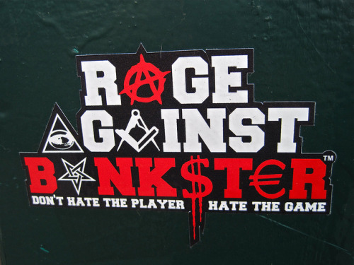 fuckyeahanarchiststickers:  Rage Against Bankster, Amsterdam, NL by Robby Virus on Flickr.