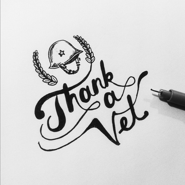 Thank a Vet. #veteransday #lettering #drawing