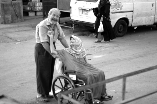 An old couple from a Palestinian refugee camp in Lebanon.