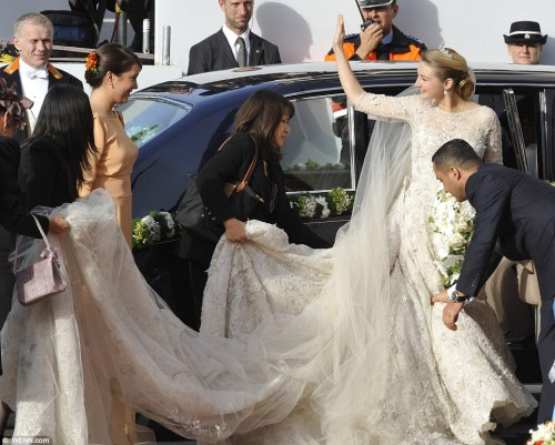 Princess Stephanie of Luxembourg ▬ The 28-year-old bride, wore an Elie Saab dress, with a four-metre (13 feet) train as walked down the aisle.