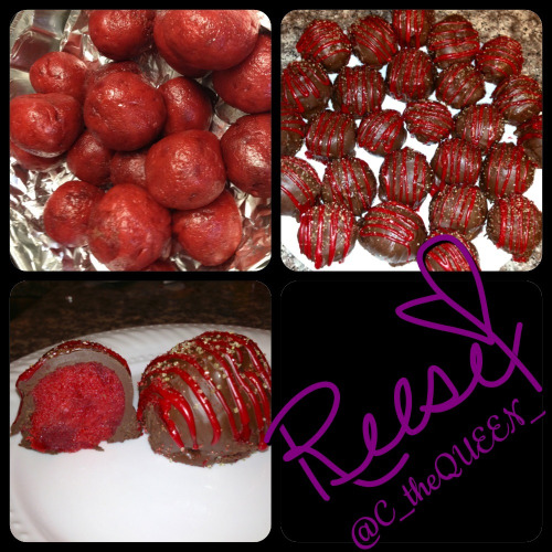 Red Velvet Cake Truffles   Ingredients: Cake: 2 c. sugar 1 c. butter, room temperature 2 eggs 2 tbsp. cocoa powder 2-1/2 c. cake flour 1 tsp. salt 1 c. buttermilk 1 tsp. vanilla extract 1 oz red food coloring 1/2 tsp. baking soda 1 tbsp. vinegar  Frosting: 1 (8 oz.) package cream cheese 1/2 c. butter, softened 1 c. marshmallows, melted 1 (1 lb.) box powdered sugar  Sprinkles and cookie frosting for decorations  Directions: 1.  Heat oven 350°F.    2.  In mixing bowl, cream sugar and butter and beat until light and fluffy.  Add eggs, one at a time, and mix well after each addition.  Add cocoa and mix well.    3.  Sift together flour and salt.  Add flour mixture to creamed mixture alternately with buttermilk.  Blend in vanilla extract.  In small bowl, combine baking soda and vinegar and add to mixture.    4.  Pour batter into pan. Bake for 30 minutes or until toothpick inserted of center of cake comes out clean.  Remove from oven and cool completely.  *For frosting, blend cream cheese and butter together in bowl.  Add marshmallows and powdered sugar and blend.*  5. Once cooled, cut cake into sections and place cake into food processor.  Pulse until cake is crumbly (or, you can use your hands, fork, etc.).  Place crumbs into a large bowl.  6. Add frosting to the cake crumbs and mix to completely combine, until you have a fudge-like consistency.  7. Using a tablespoon, scoop dough and place cake balls onto parchment- or foil-lined baking sheet (make sure that whatever you place the cake balls on can fit into your freezer!).  Take each ball and roll in hands to form a smooth ball and place back on baking sheet.  Place baking sheet in freezer for 1 hour.  8. Once ready to decorate, place chocolate candy melts into large bowl and melt in microwave (heat at 30-second intervals until completely melted and smooth).    PLEASE NOTE!  If you're using sprinkles, make sure to have the sprinkles ready to use.  The chocolate melts very quickly, so you must decorate the cake balls immediately after covering in chocolate.  I found it best to set up a short assembly line: dip in chocolate, place on aluminum foil or a baking sheet and cover with frosting and sprinkles.  9. Place one cake ball into bowl and using two forks, roll ball in chocolate to cover completely.  Using the forks, take cake ball out of bowl, letting excess chocolate drip off, and place onto parchment paper.  Decorate as desired.  Let cake balls set (only a minute or two).
